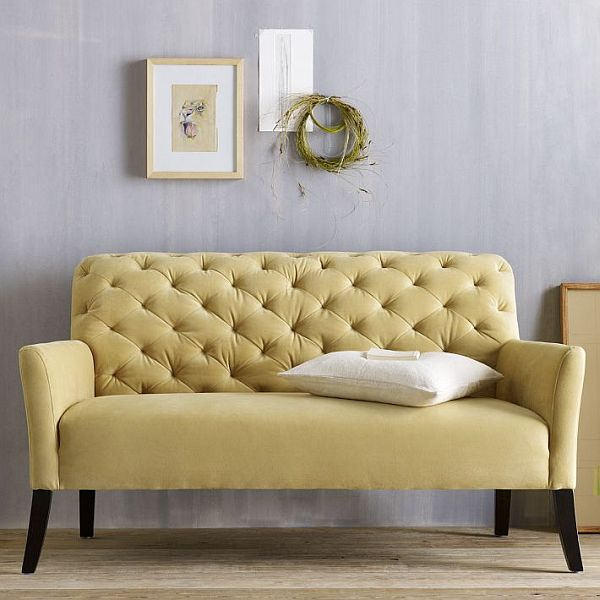 the elton settee tufted yellow sofa. Black Bedroom Furniture Sets. Home Design Ideas