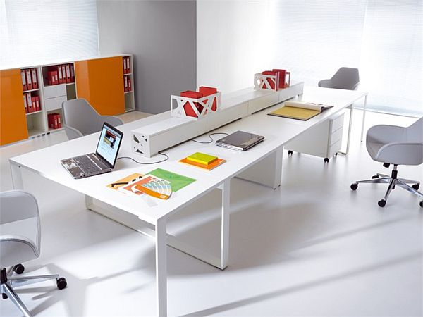 The adaptable zig zag workstation furniture for companies for Open design furniture