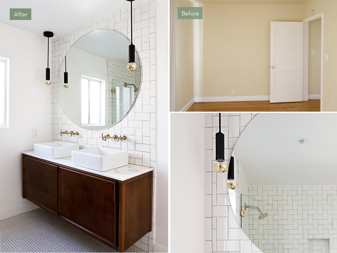 Bathroom renovation with subway tiles