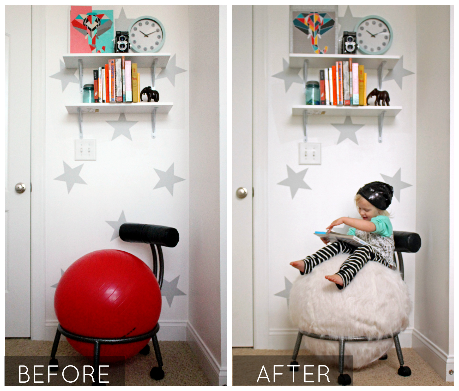 Before and after ball chair