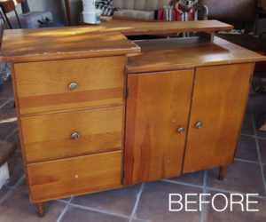 Before and After: A Sewing Cabinet Transformed into A Storage Unit