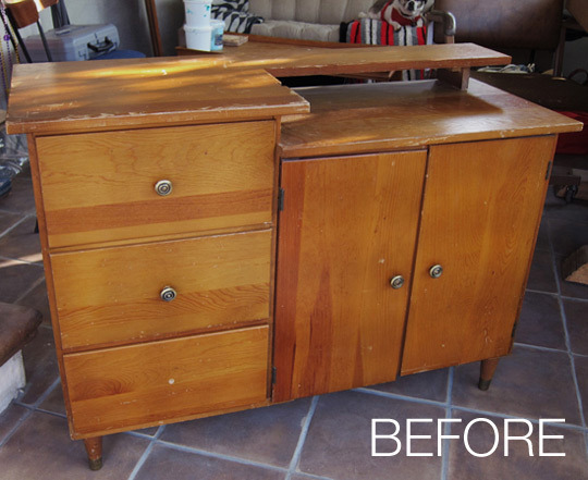& Before and After: A Sewing Cabinet Transformed into A Storage Unit