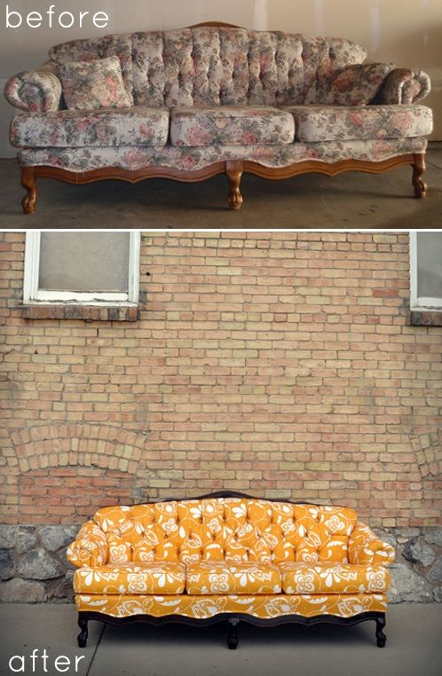 Bright sofa makeover