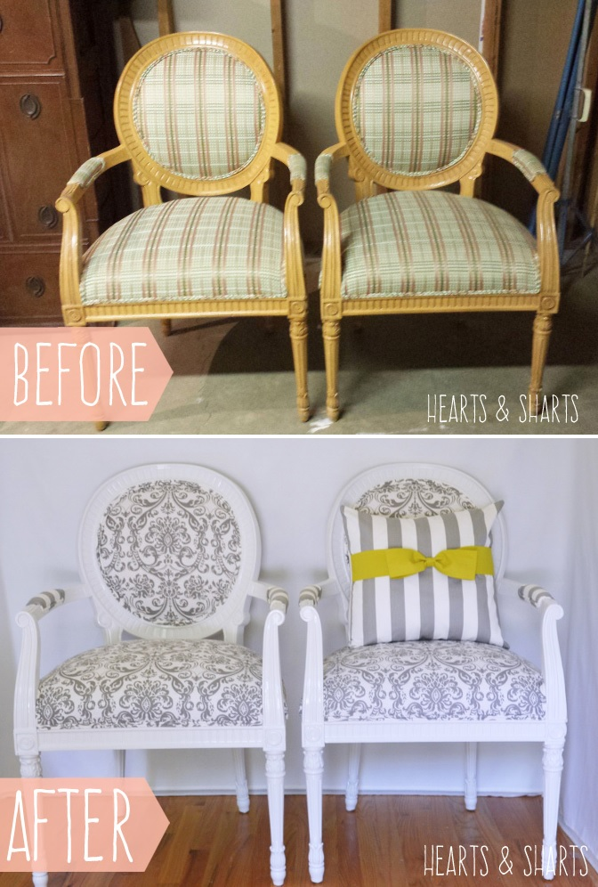Chair makeover from gold accents to white
