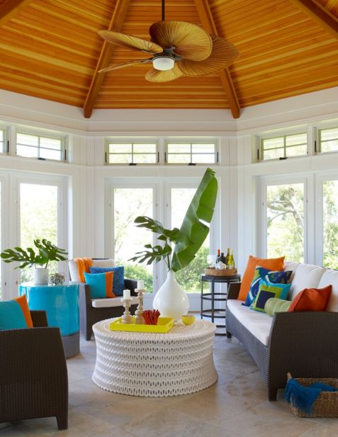Colorful sunroom design