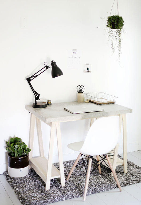 Concrete Desktop and Wood Legs