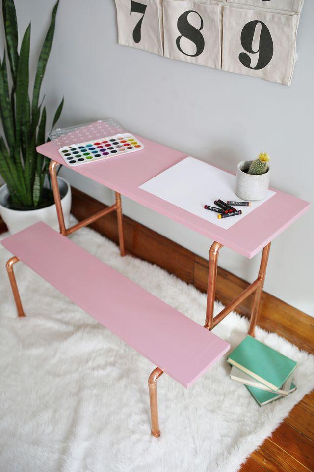 Copper pipe simple desk