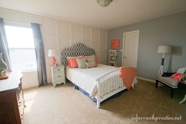 Coral gray bedroom makeover