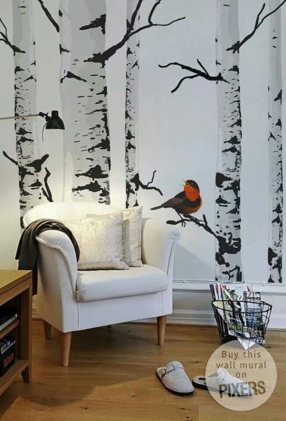 Faux wallpaper birch