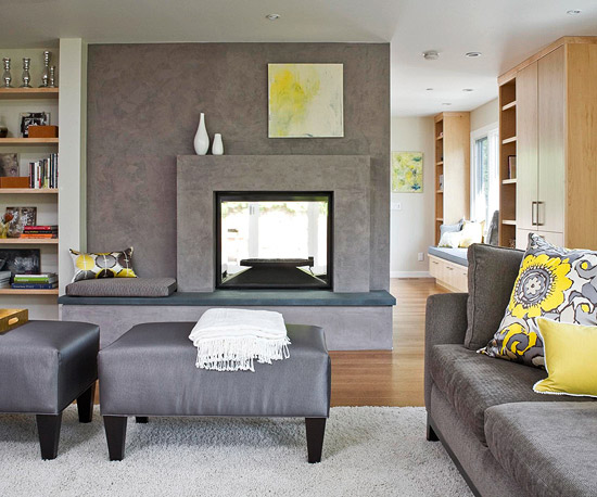 Gray Walls Purple And Mustard Accents Living Room