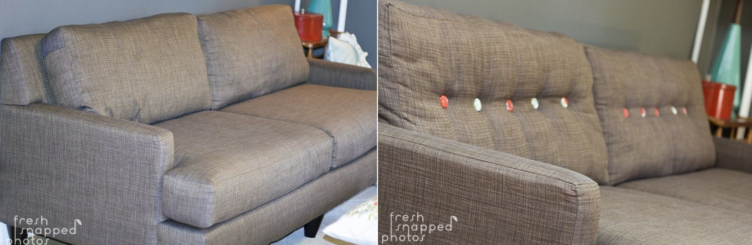 Grey sofa makeover with buttons