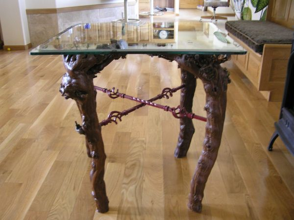 Interesting Glass Top Table With Grape Vines