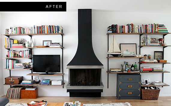 Modern wall shelving for living room