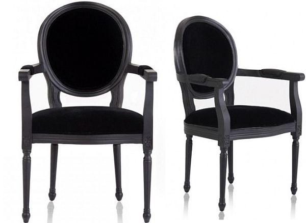 New Louis Black Armchair
