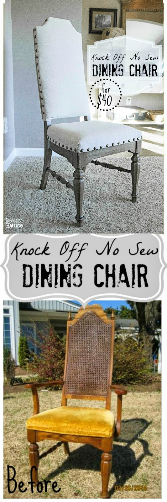 No sew dining chair makeover