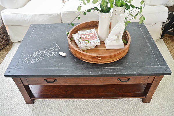 Old coffee table makeover with chalkboard paint