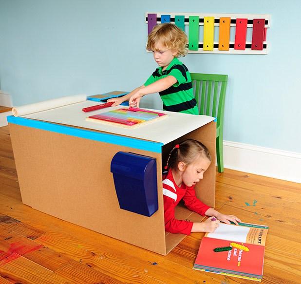 Pop up cardboard desk