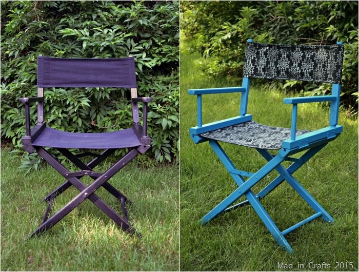 Printed director chair before and after