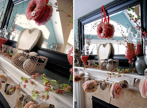 Schön Valentineu0027s Day Mantel Decoration Ideas