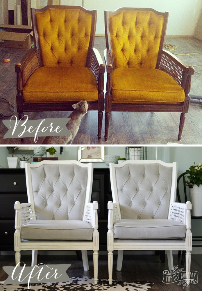 Vintage chairs makeover from yellow to gray