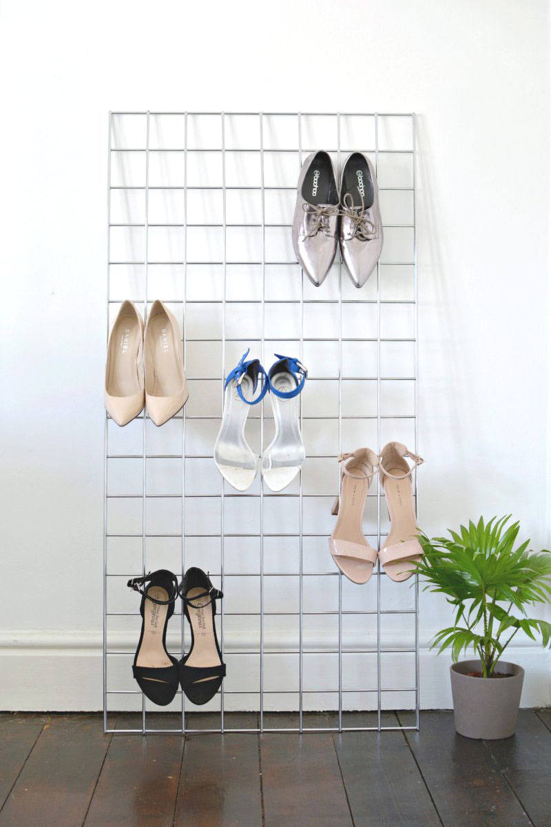 Wire grid shoe storage