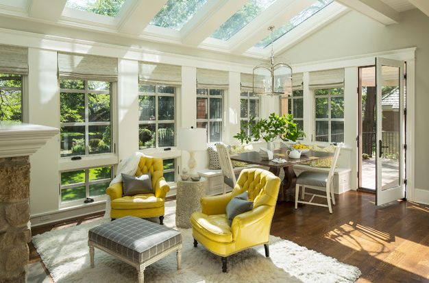 Yellow Leather Chairs for Living-sunroom