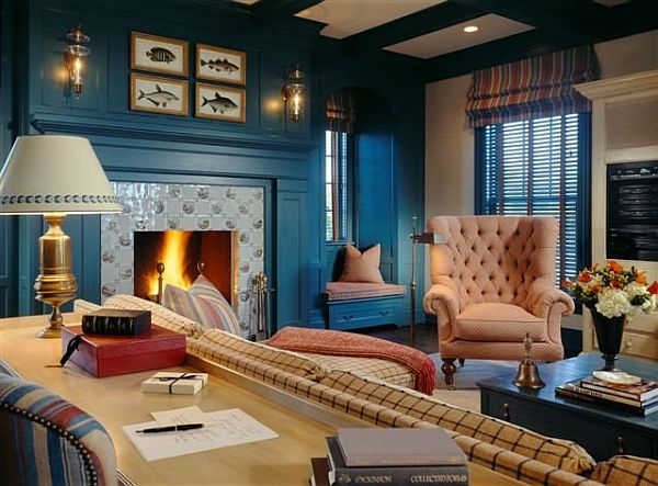 20 blue living room design ideas for Black white and blue living room ideas