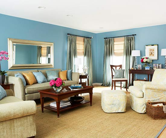 15 Red Living Room Design Ideas. Pastel Blue Walls And A Matching Accent  Rug Complemented By Wicker Elements Blue ...