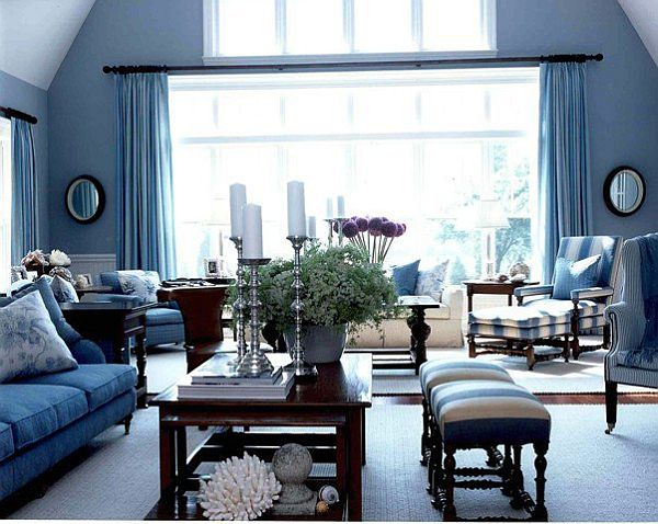 20 blue living room design ideas Black white blue living room