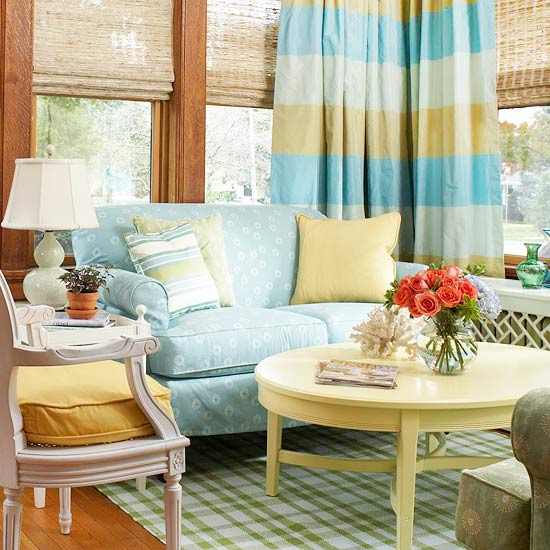 ... Living Room With Small Blue Accents. A Cheerful Combination Of Yellow  ...