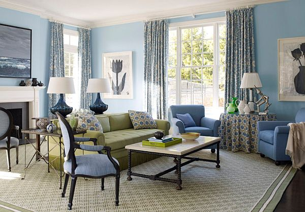 a more traditional living room - Blue Color Living Room Designs
