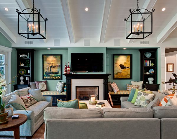 Mesmerizing Dark Teal Brown Living Room