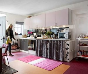 Inviting and colorful kitchen for one