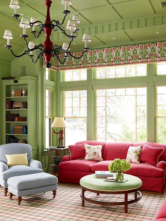 The Combination Of Green And Red Gives This Room