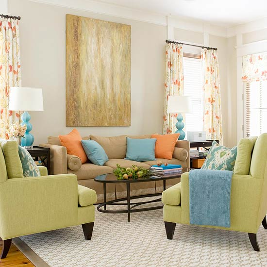 15 green living room design ideas for Green and blue living room decor