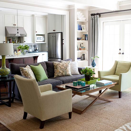 A Rather Neutral Living Room Dcor Featuring