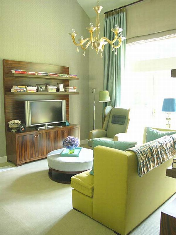 Living Room Design Green: 15 Green Living Room Design Ideas