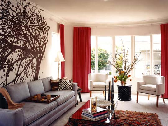 design curtains for living room. View  15 Red living room design ideas