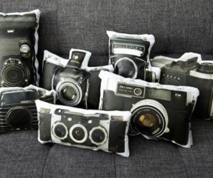 Original Upcycled Camera Lamp · Nice Vintage Pillow Collection Featuring  Vintage Cameras Painted On Canvasses