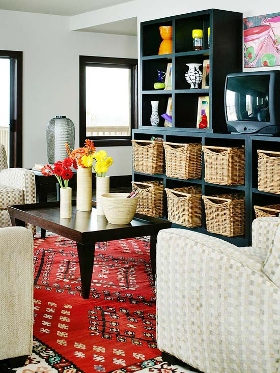 View In Gallery The Red Accent Rug Complements The Neutral Décor Beautifully Part 81