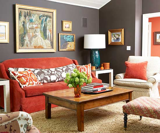 Living Room Dcor With Red Accents The