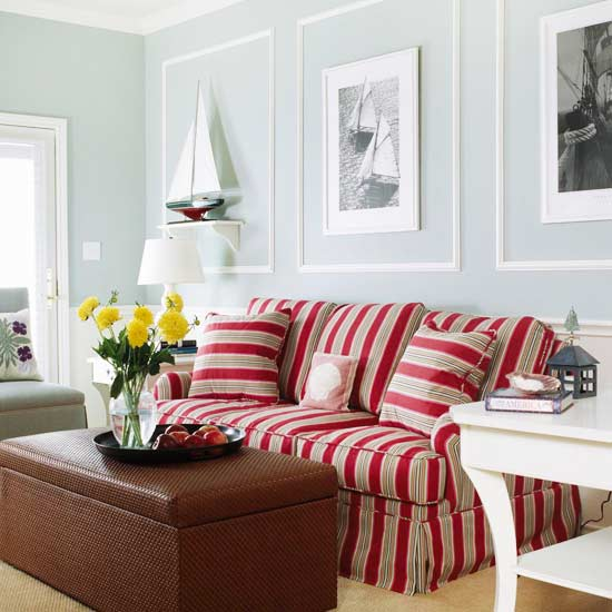 15 red living room design ideas for Red white and blue living room ideas