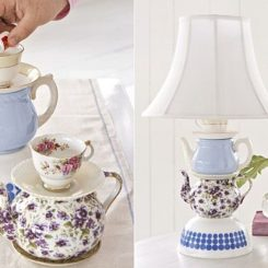 Cute DIY Tableware Tabletop Lamp