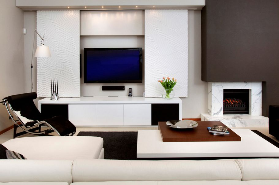 wall unit designed around the TV