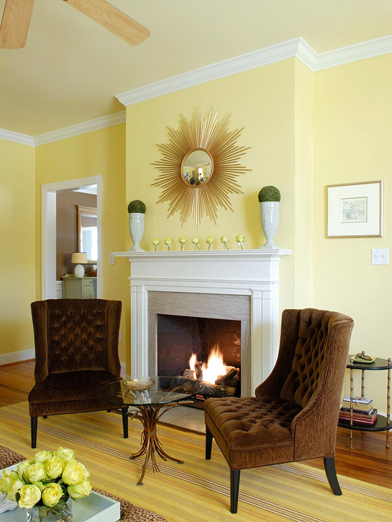 Yellow living room design ideas for Good colours for living room