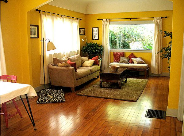 Yellow living room design ideas for Classic house zene