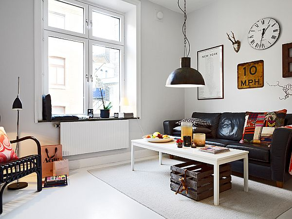 Small Nordic Apartment With Industrial Touches Simple Industrial Apartment Decor