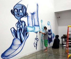 Creative murals at Facebook by David Choe and Jet Martinez