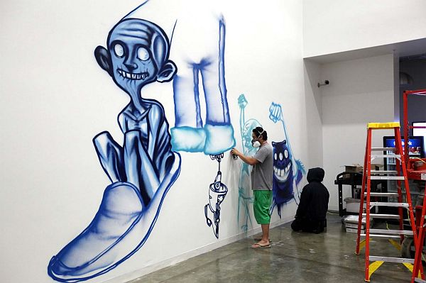 Creative murals at facebook by david choe and jet martinez for Creative mural art