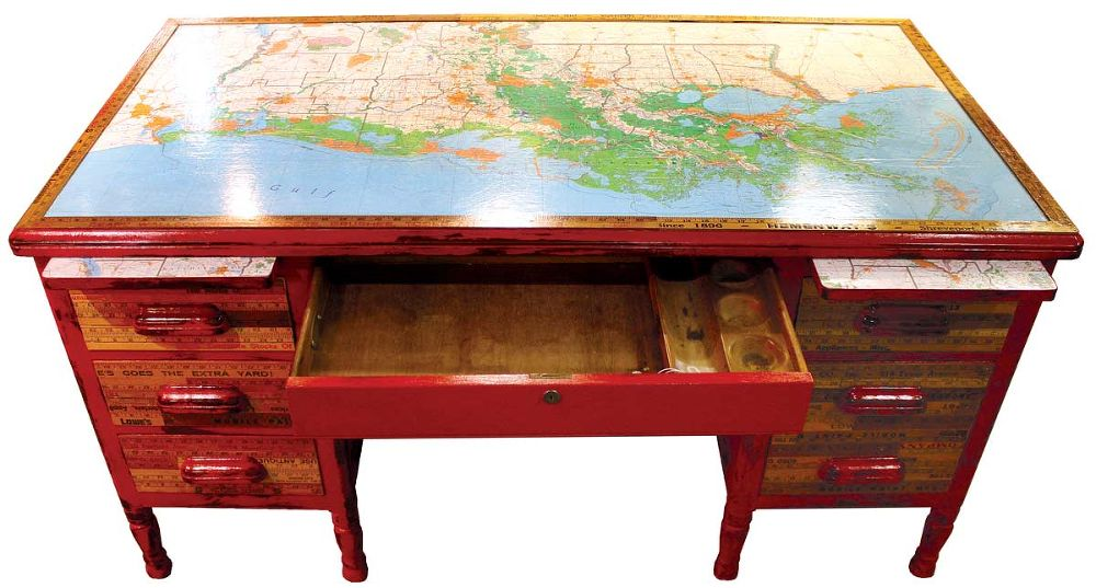 Desk with maps on top